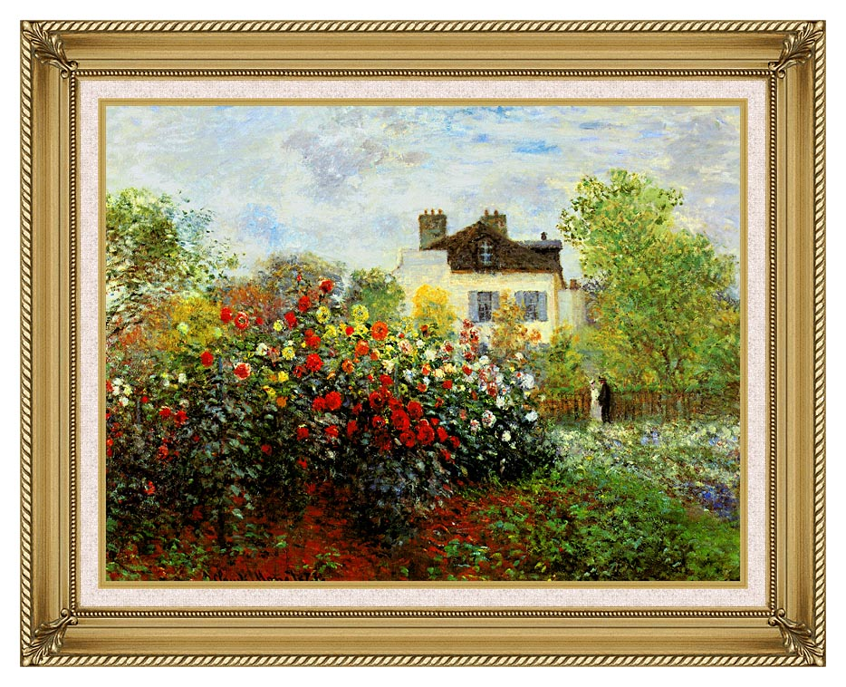 Claude Monet Monet's Garden at Argenteuil with Gallery Gold Frame w/Liner