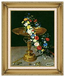 Jan Brueghel The Elder Gold Cup With Flower Wreath And Jewel Box Portrait Detail canvas with gallery gold wood frame