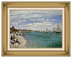 Claude Monet Regatta At Sainte Adresse canvas with gallery gold wood frame