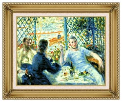 Pierre Auguste Renoir The Canoeists Luncheon canvas with gallery gold wood frame