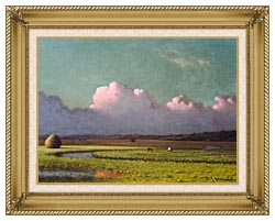 Martin Johnson Heade Sunlight And Shadow The Newbury Marshes Detail canvas with gallery gold wood frame
