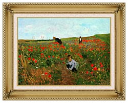 Mary Cassatt Poppies In A Field canvas with gallery gold wood frame