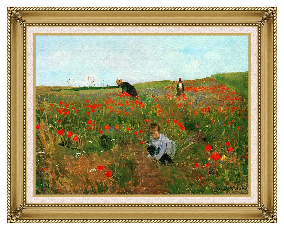 Mary Cassatt Poppies in a Field with Gallery Gold Frame w/Liner