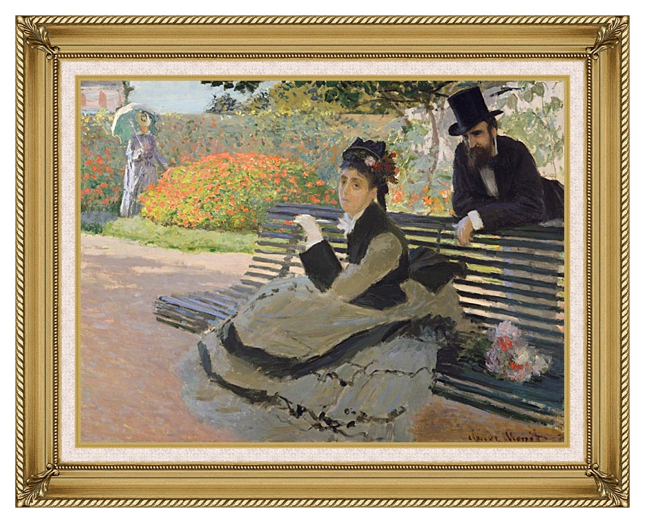 Claude Monet Camille Monet on a Garden Bench with Gallery Gold Frame w/Liner