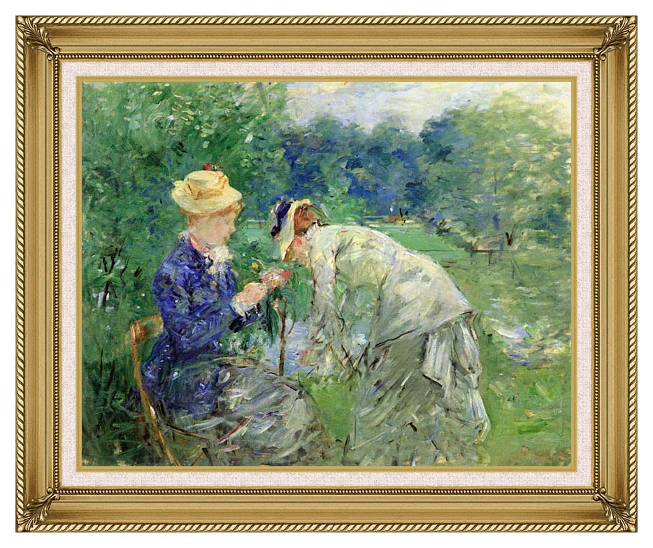 Berthe Morisot In the Garden 1879 with Gallery Gold Frame w/Liner