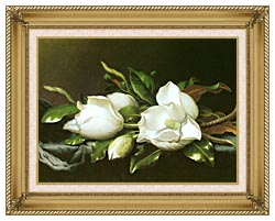 Martin Johnson Heade Magnolias Detail canvas with gallery gold wood frame