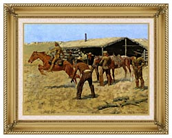 Frederic Remington The Coming And Going Of The Pony Express canvas with gallery gold wood frame