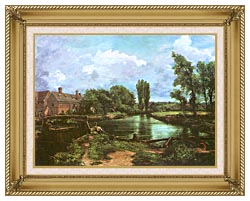 John Constable A Water Mill canvas with gallery gold wood frame