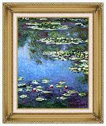 Claude Monet Water Lilies 1906 Portrait Detail canvas with gallery gold wood frame