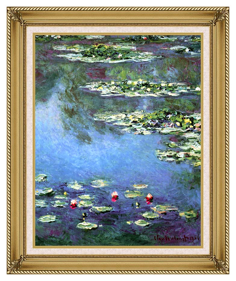 Claude Monet Water Lilies 1906 (portrait detail) with Gallery Gold Frame w/Liner