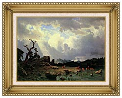 Albert Bierstadt Thunderstorm In The Rocky Mountains canvas with gallery gold wood frame