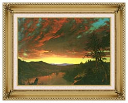 Frederic Edwin Church Twilight In The Wilderness Detail canvas with gallery gold wood frame