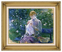 Berthe Morisot Pasie Sewing In The Garden At Bougival canvas with gallery gold wood frame