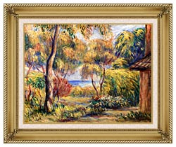 Pierre Auguste Renoir Landscape At Cagnes canvas with gallery gold wood frame