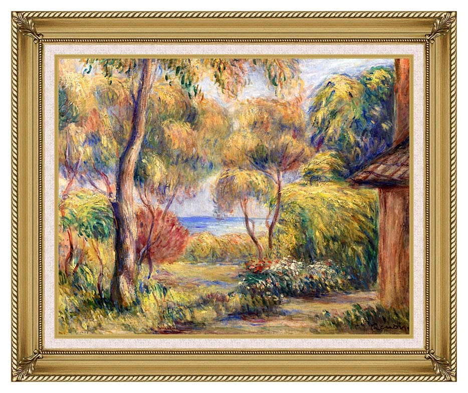 Pierre Auguste Renoir Landscape at Cagnes with Gallery Gold Frame w/Liner