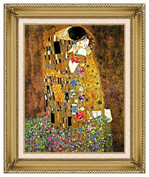 Gustav Klimt The Kiss Detail canvas with gallery gold wood frame