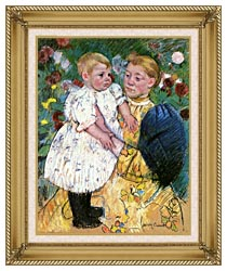 Mary Cassatt In The Garden 1893 canvas with gallery gold wood frame