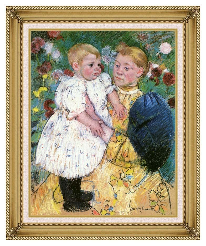 Mary Cassatt In the Garden 1893 with Gallery Gold Frame w/Liner