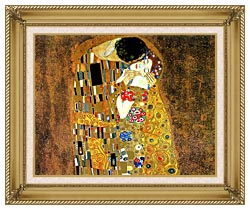 Gustav Klimt The Kiss Landscape Detail canvas with gallery gold wood frame