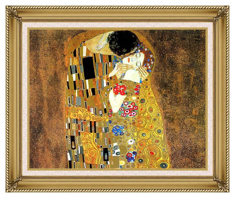 Gustav Klimt The Kiss (landscape detail) with Gallery Gold Frame w/Liner