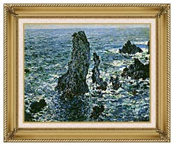 Claude Monet The Pyramids Of Port Coton canvas with gallery gold wood frame
