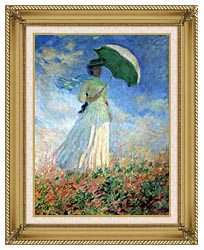 Claude Monet Woman With Umbrella Turned To The Right canvas with gallery gold wood frame