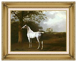 Jacques Laurent Agasse White Horse In A Meadow canvas with gallery gold wood frame
