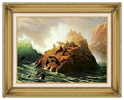 Albert Bierstadt Seal Rock canvas with gallery gold wood frame