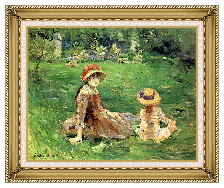 Berthe Morisot In the Garden at Maurecourt with Gallery Gold Frame w/Liner