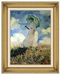Claude Monet Woman With Umbrella Turned To The Left canvas with gallery gold wood frame
