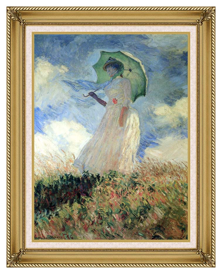 Claude Monet Woman with Umbrella Turned to the Left with Gallery Gold Frame w/Liner