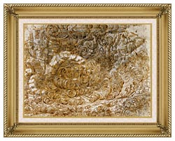 Leonardo Da Vinci A Deluge canvas with gallery gold wood frame