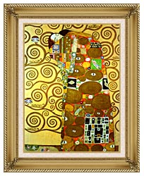 Gustav Klimt Fulfillment Detail canvas with gallery gold wood frame