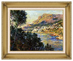 Claude Monet Monte Carlo Seen From Roquebrune canvas with gallery gold wood frame