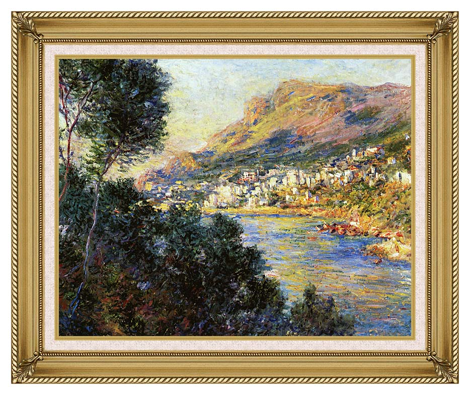 Claude Monet Monte Carlo Seen from Roquebrune with Gallery Gold Frame w/Liner