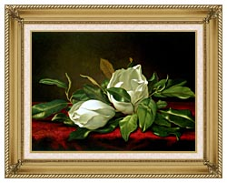 Martin Johnson Heade Giant Magnolias canvas with gallery gold wood frame