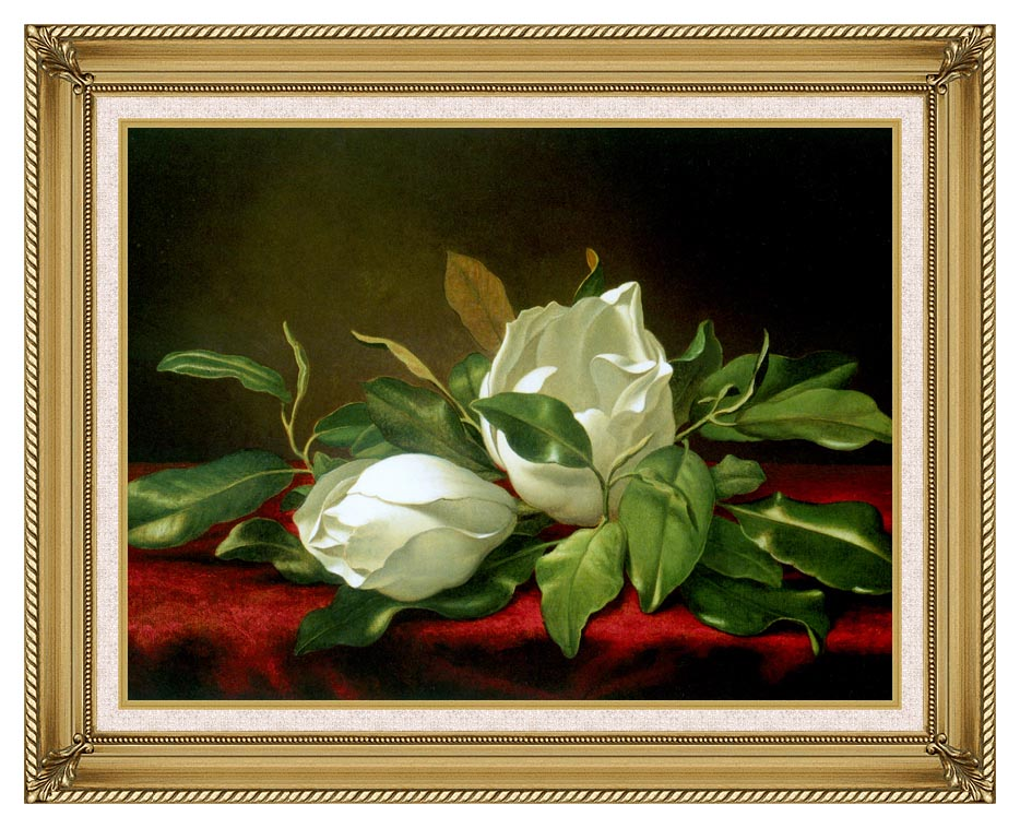 Martin Johnson Heade Giant Magnolias with Gallery Gold Frame w/Liner