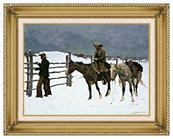 Frederic Remington The Fall Of The Cowboy canvas with gallery gold wood frame