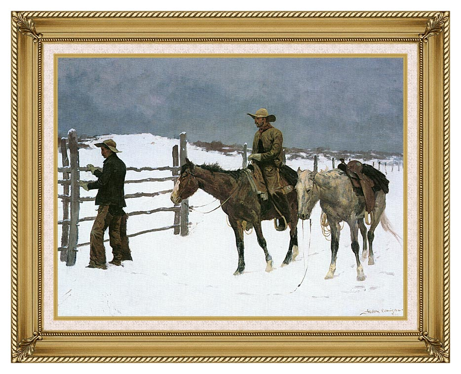 Frederic Remington The Fall of the Cowboy with Gallery Gold Frame w/Liner