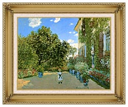 Claude Monet Monets House At Argenteuil canvas with gallery gold wood frame