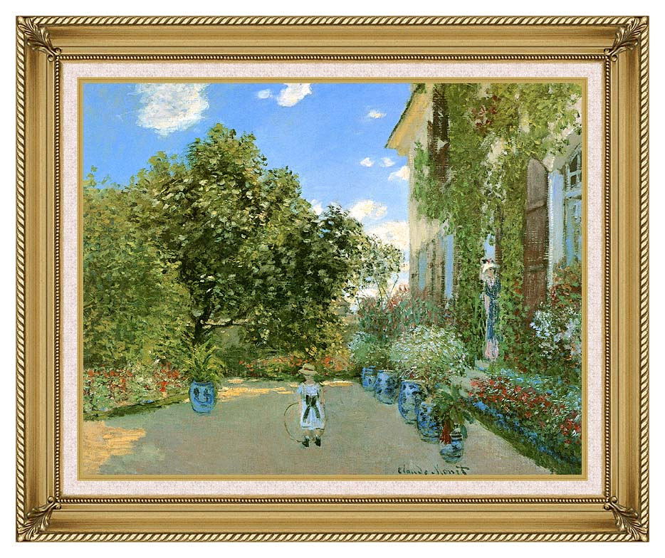 Claude Monet Monet's House at Argenteuil with Gallery Gold Frame w/Liner
