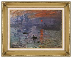Claude Monet Impression Sunrise canvas with gallery gold wood frame