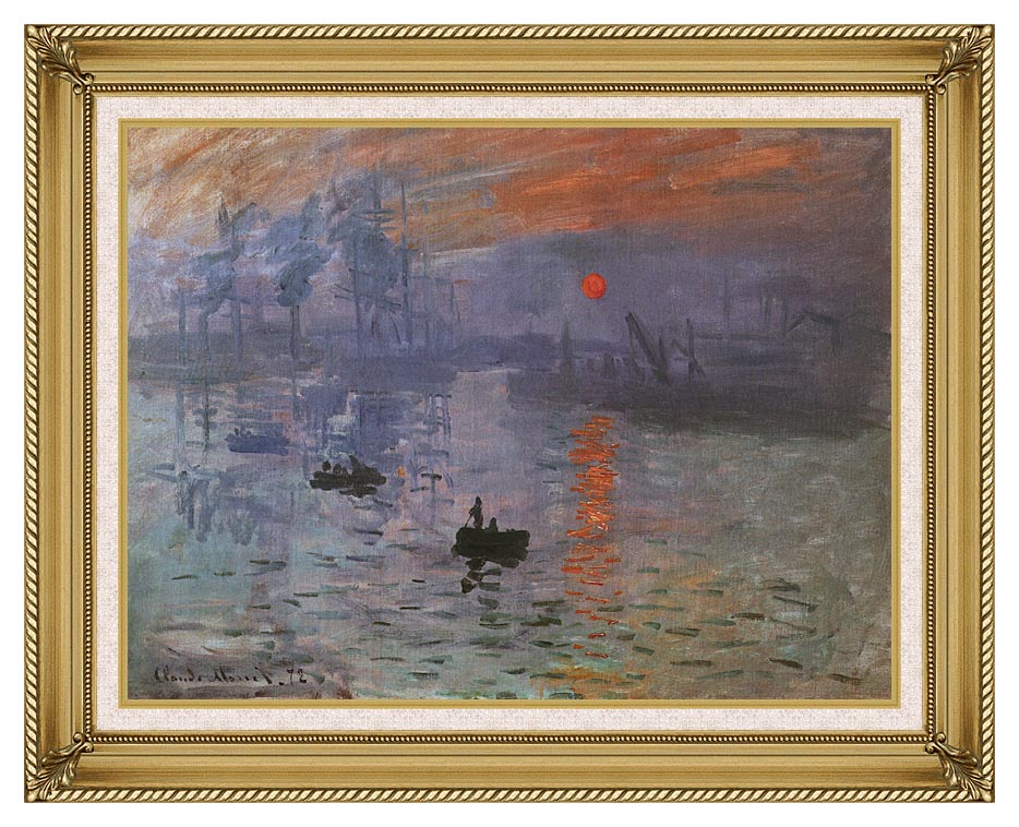 Claude Monet Impression, Sunrise with Gallery Gold Frame w/Liner