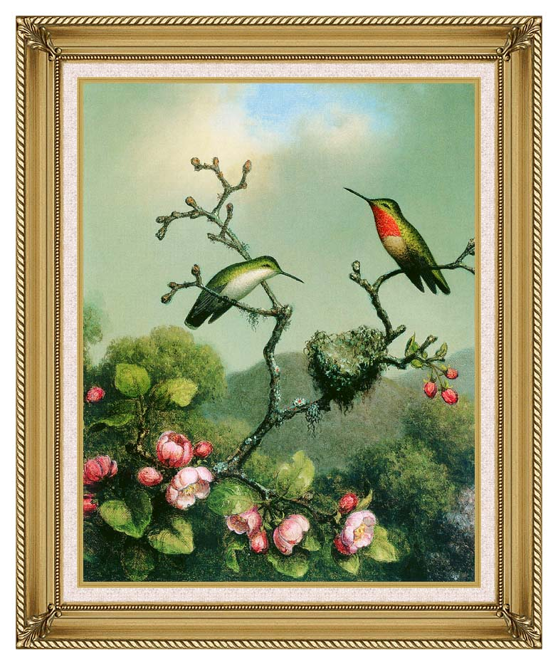 Martin Johnson Heade Ruby Throat of North America with Gallery Gold Frame w/Liner