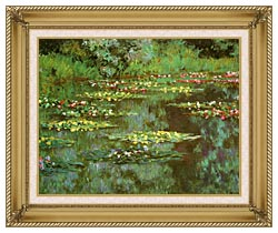 Claude Monet Nympheas 1906 Detail canvas with gallery gold wood frame