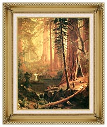 Albert Bierstadt Giant Redwoods Of California canvas with gallery gold wood frame