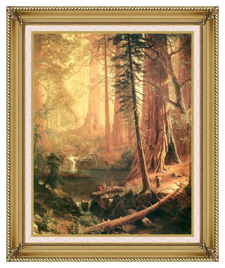 Albert Bierstadt Giant Redwoods of California with Gallery Gold Frame w/Liner