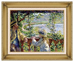 Pierre Auguste Renoir By The Lake canvas with gallery gold wood frame