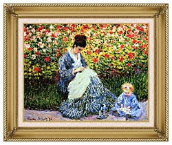 Claude Monet Camille Monet And Child In The Garden canvas with gallery gold wood frame