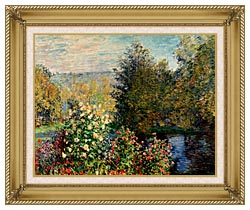 Claude Monet Corner Of A Garden At Montgeron canvas with gallery gold wood frame